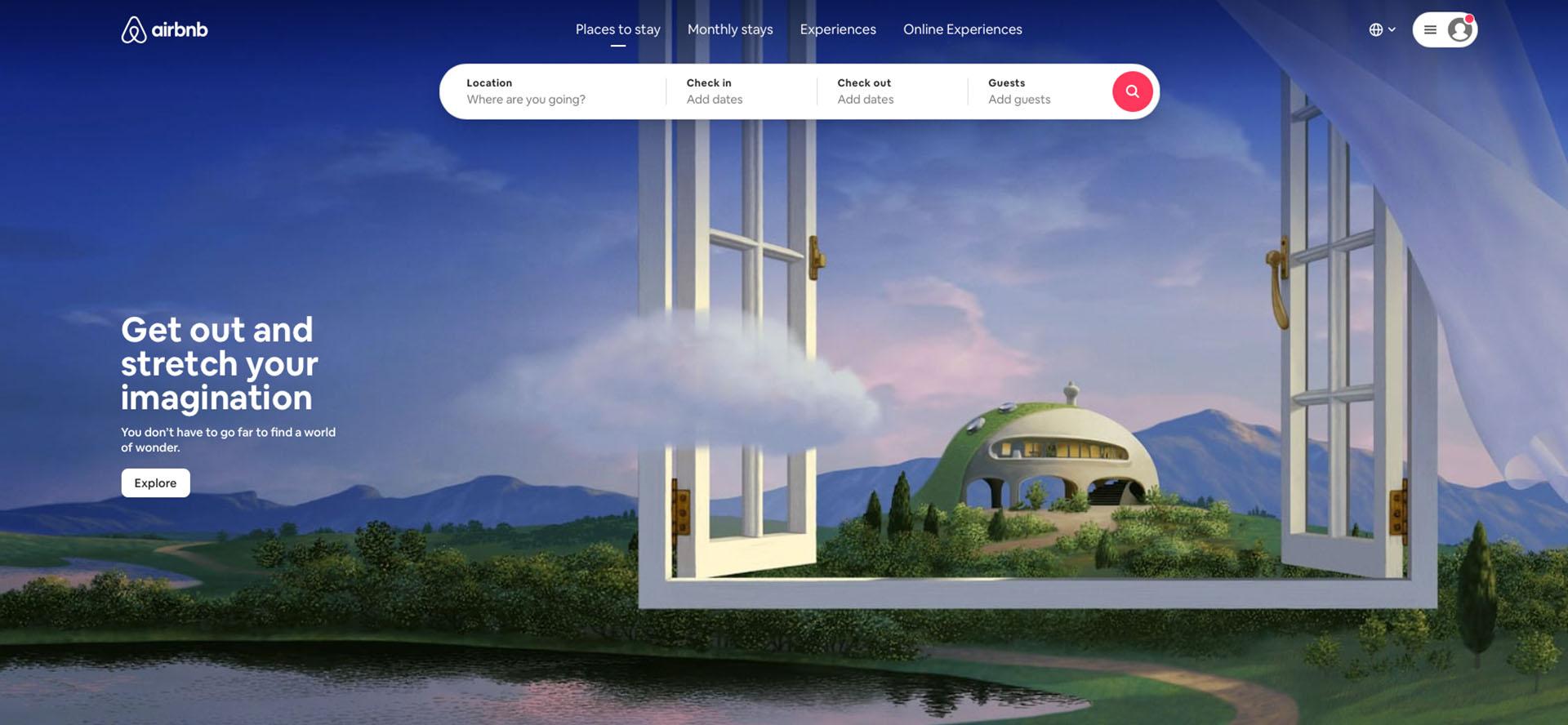 Airbnb website design example