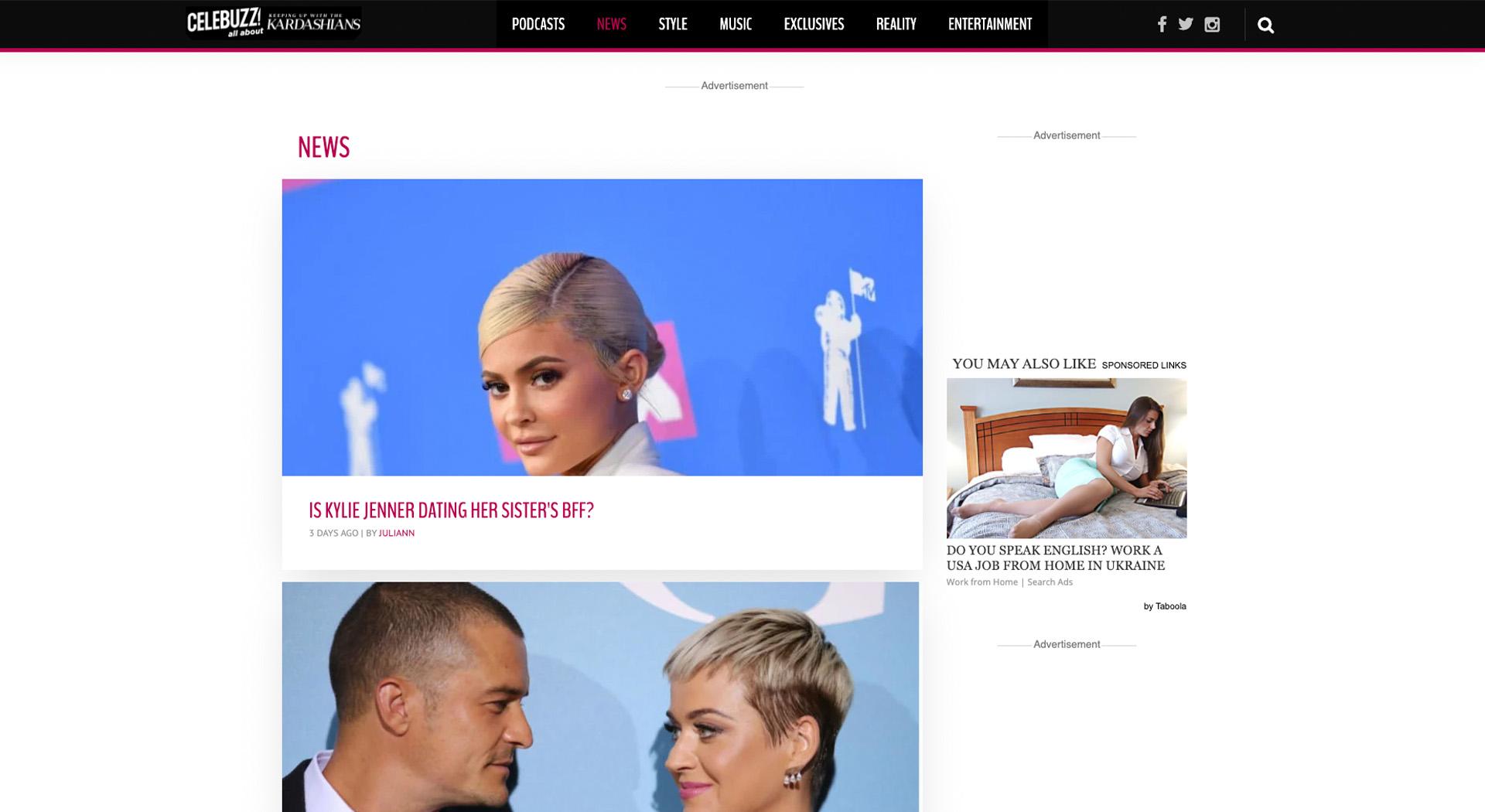 Celebuzz: funny websites for boredom