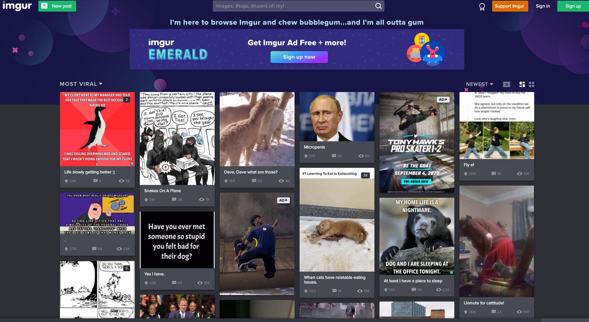 Imgur: funny websites for boredom