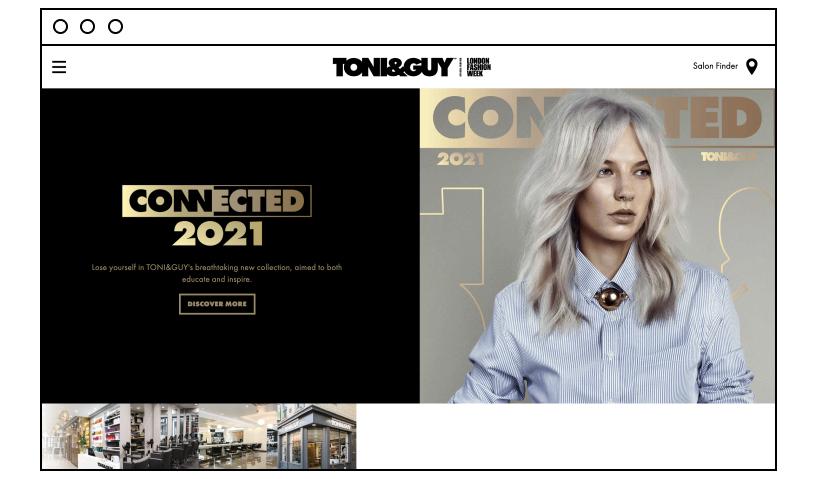 Toni and Guy beauty salon website ideas