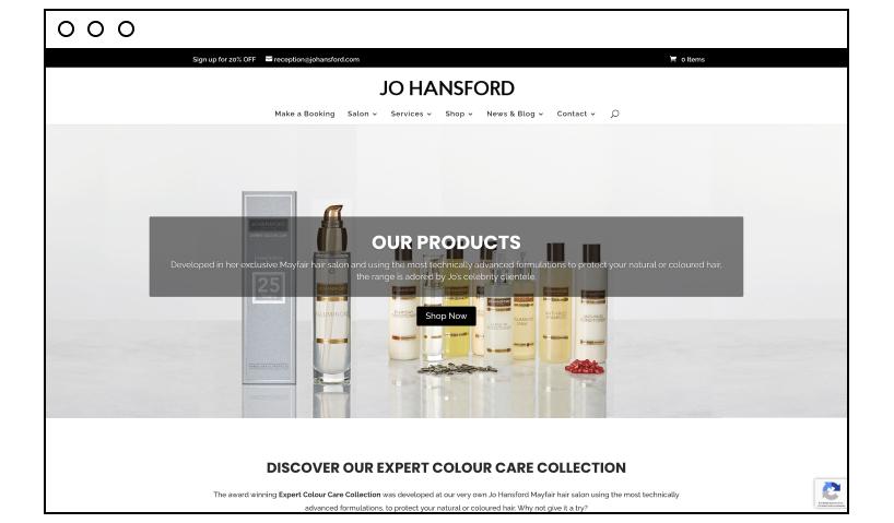 Jo Hansford beauty website example