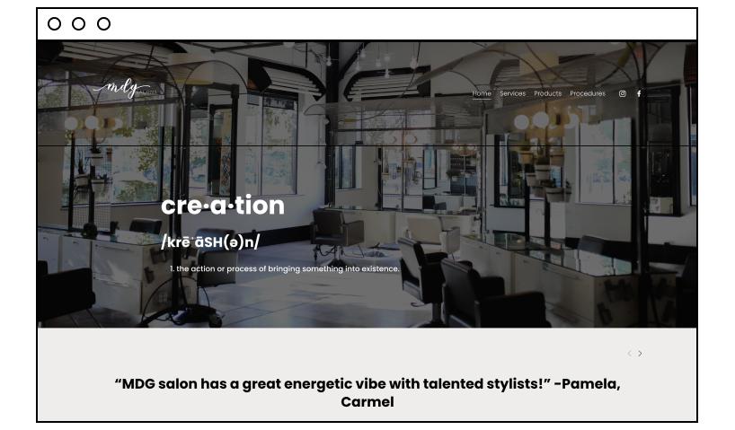 MDG Salons website designs