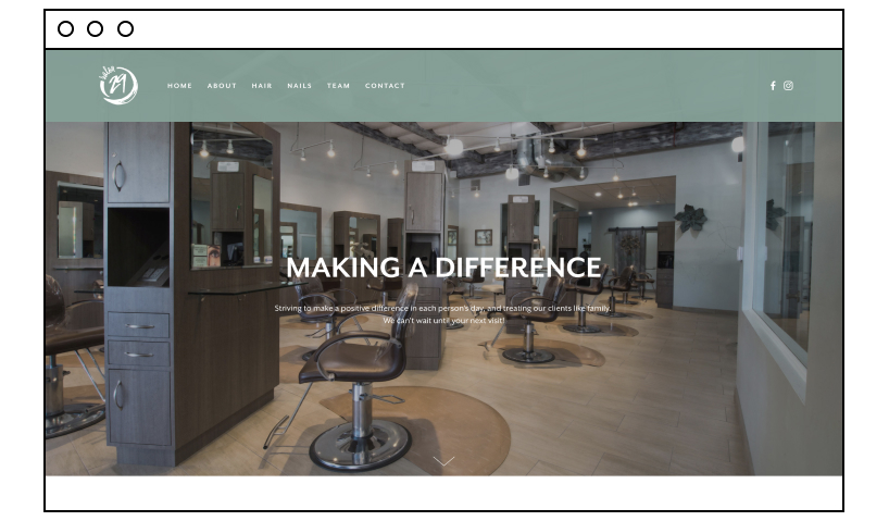 Salon 29 beauty website example