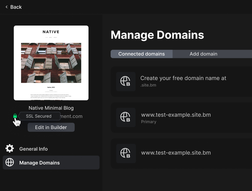 Manage domains