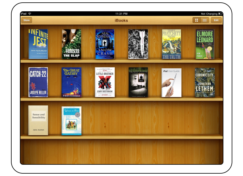 Apple iBooks, the roots of Skeuomorphism. Courtesy of Apple.