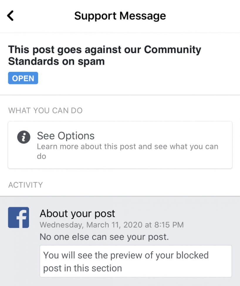 """Support message: """"This post goes against our Community Standards"""""""