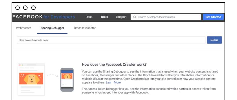 Facebook Sharing Debugger tool