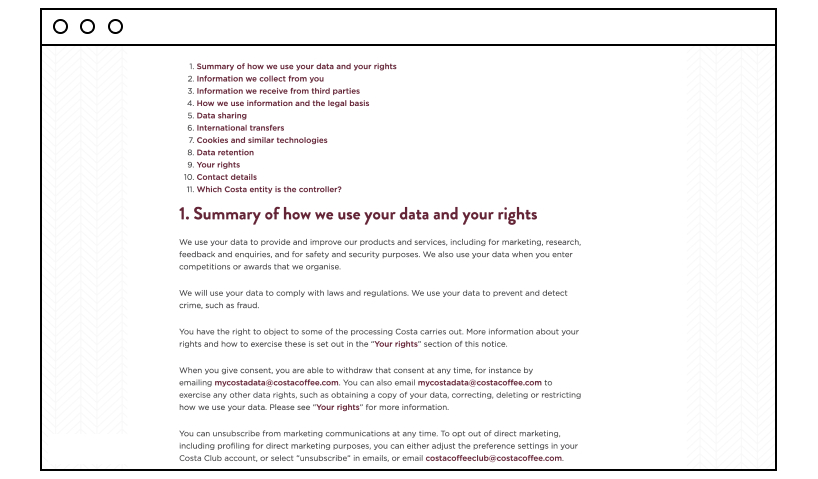 Costa Coffee's Privacy Policy