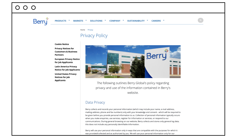 Berry Global privacy policy