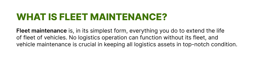 what is fleet maintenance